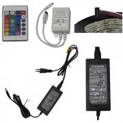 Fita Led RGB 3528 IP65 60 Leds/m Colorida Bi-volt 5M � Prova de �gua cd 1163 com fonte
