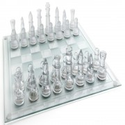 Jogo de Xadrez Tabuleiro em Vidro Transparente Luxo 25 cm CBR-01087 / GBA01M