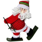 Papai Noel de Pel�cia com Esqui com 30cm de Altura CBRN0326 CD0047