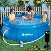 Piscina Infl�vel 2300 Lts Bestway 57008 + Bomba Filtrante 1250Lts + Bomba de Inflar Manual 244cm di�metro x 66cm altura