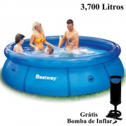 Piscina Infl�vel 3700 Lts Bestway + Bomba Inflar Manual 305cm di�metro x 76cm altura mod 57009