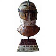 Elmo met�lico capacete de guerra com suporte de mesa - Frete Gr�tis