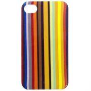 Capa de IPhone 4/4S de Policarbonato Texturizado Em Linhas Coloridas BB-STRIPE-BK Acompanha Pel�cula Protetora Aplicador de Pel�cula Flanela para Limpeza