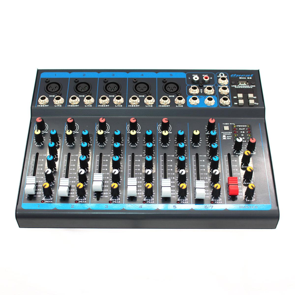 OMX52 - Mesa de Som / Mixer 5 Canais c/ USB OMX 52 - Oneal