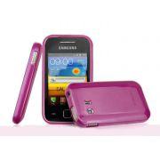 Capa TPU Premium + Pel�cula protetora para Samsung Galaxy Y GT-S5360 - Cor Rosa