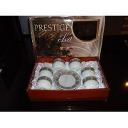 Jogo De Cha Xicara Porcelana Prestige Prata12 Pe�as Presente
