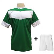 Jogo de Camisa modelo Columbus Verde/Branco + Cal��o Branco com 18 unidades - Frete Gr�tis Brasil + Brindes