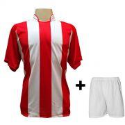 Uniforme Completo modelo Milan Vermelho/Branco 18+1 (18 camisas + 18 cal��es + 19 pares de mei�es + 1 conjunto de goleiro) - Frete Gr�tis Brasil + Brindes