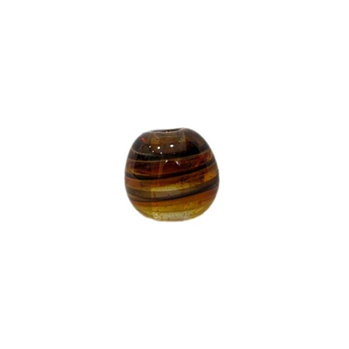 Bola de murano P ambar/ preto (10 unidades)- MU108