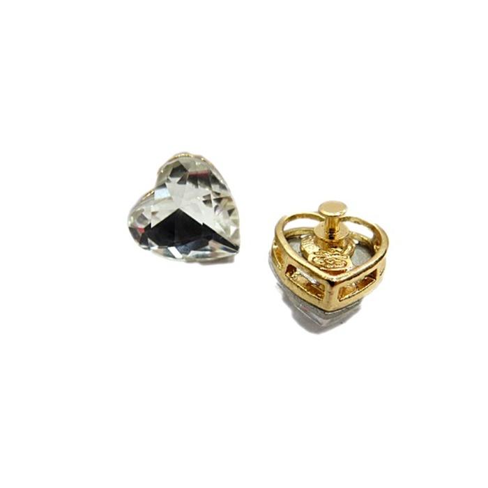 Piercing Cora��o III dourado (Par)- PID057