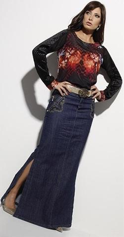 Saia Longa Kabene Jeans Bordado 4522