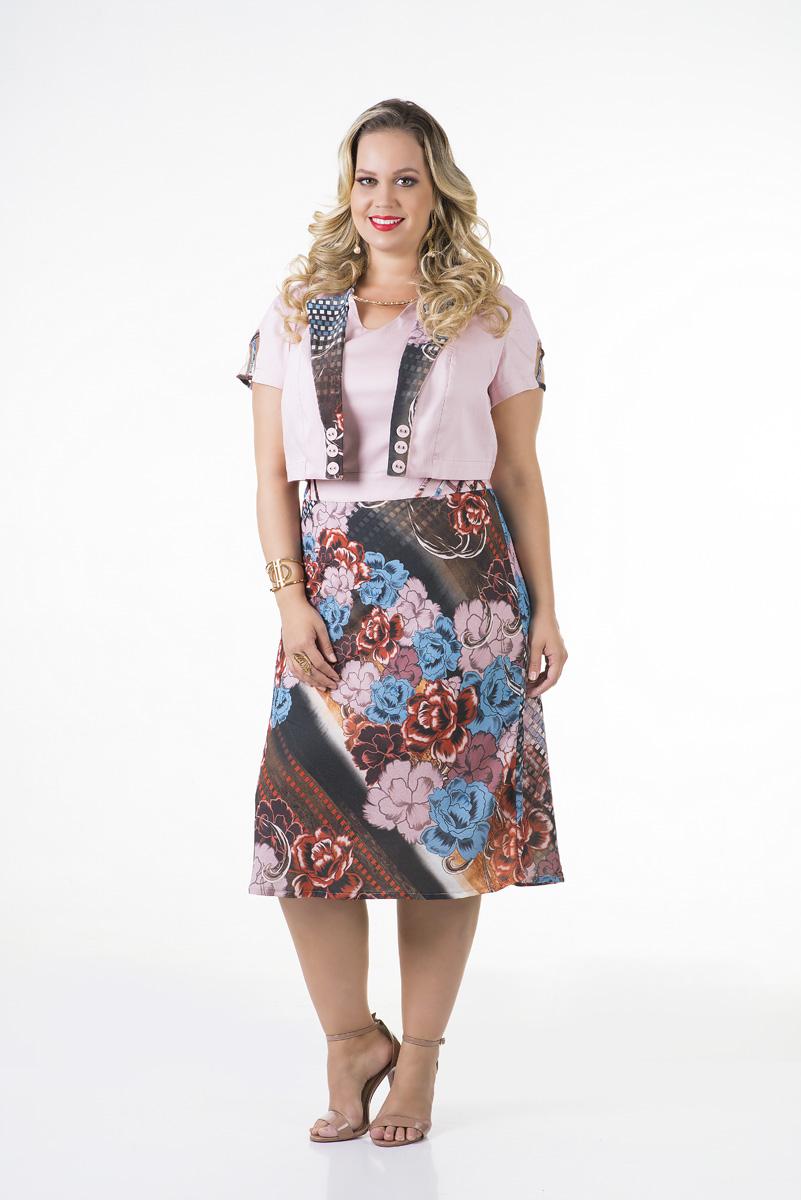 Vestido evas� crepe c/ bolero cotton