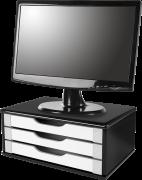 Suporte para Monitor de Mesa em MDF Black Piano com 3 Gavetas Brancas