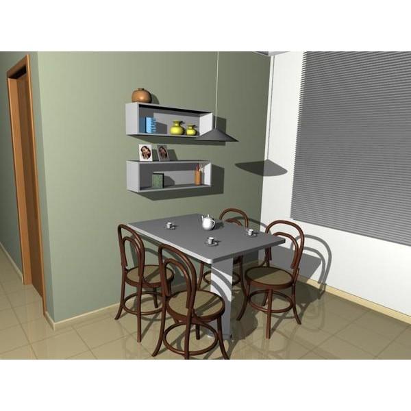 mesa fixa parede com nichos
