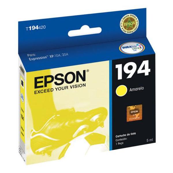 Cartucho Epson T194420 T194 194 Amarelo 3ml Expression XP-104 XP204