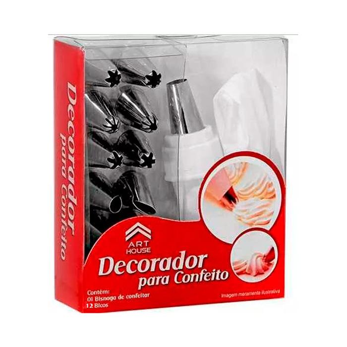 Decorador de bolo bisnaga com 12 bicos de confeitar r for Decorador de fotos