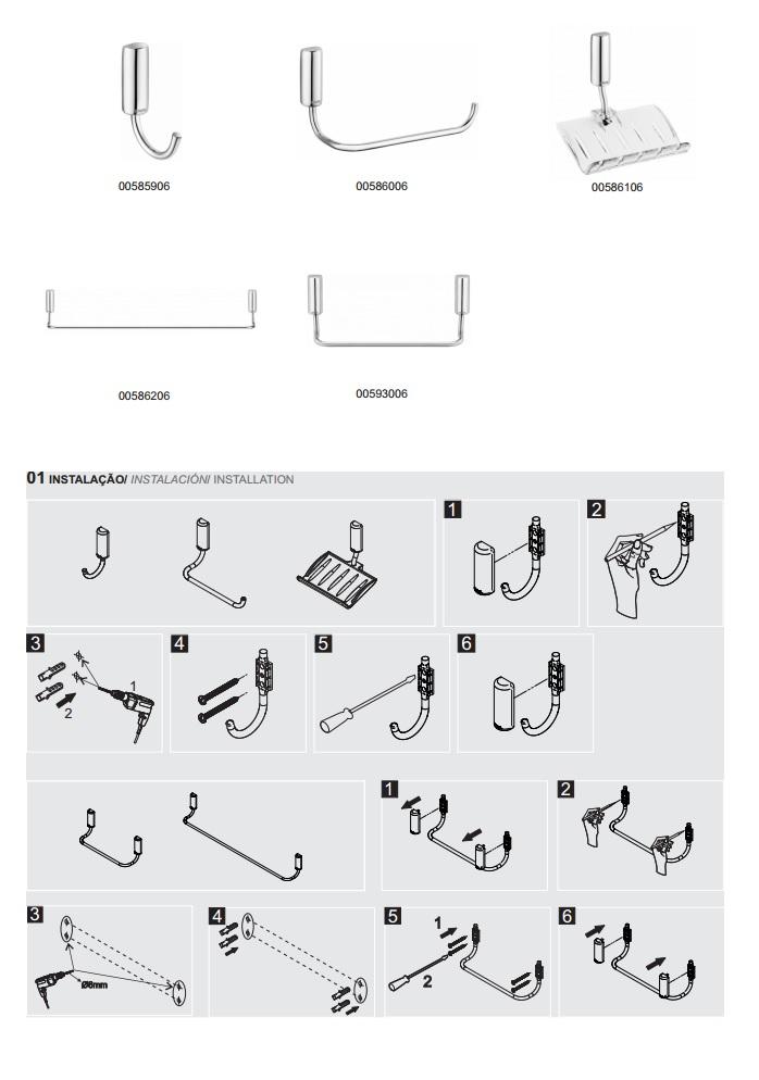 Kit Acessórios Para Banheiro Docol Idea : Kit de acess?rios idea cromado docol