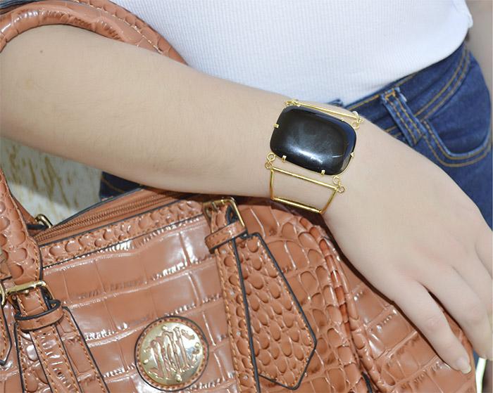 bracelete folheado de agata preta