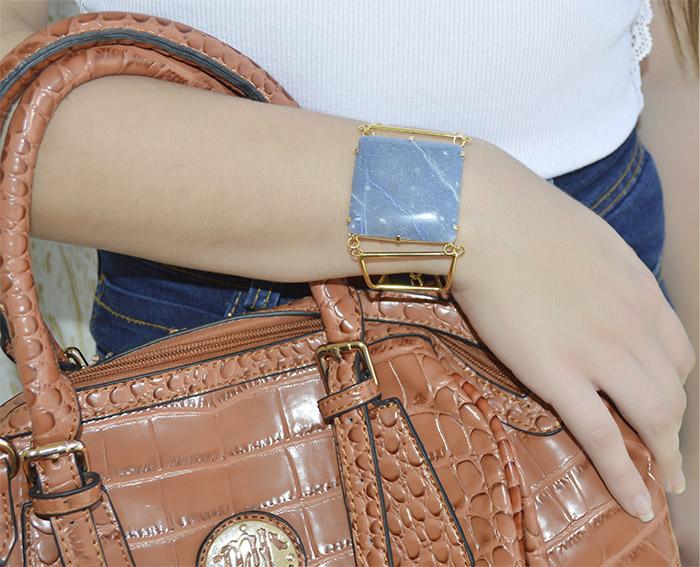 bracelete de pedra azul naturla
