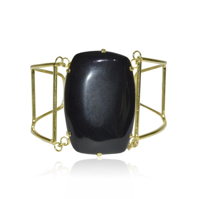 bracelete de ágata preta natural