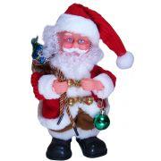 Papai Noel Dan�arino Roupa Vermelha e Marrom com Bolinha de Natal e Saco de Presente
