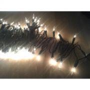 Pisca Padr�o UL - Fio Verde 100 Lampadas Luzes Brancas FIXO (N�o pisca) - 6,5 Mts.