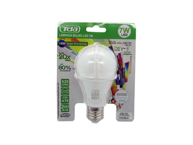 Lâmpada LED 7w Bulbo E27 Bi - Volt TDA Branca ( 600 Lumens )