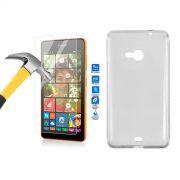 Kit Pel�cula de Vidro Temperado + Capa de TPU para Nokia Lumia 535 - Cor Transparente