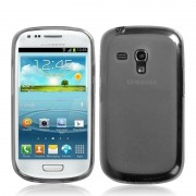 Capa de TPU Premium + Pel�cula Protetora Fosca para Samsung Galaxy S III Mini I8190 - Grafite