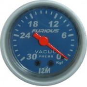 Rel�gio Vacu�metro 12M Furious 52mm 13.401 � Mostrador Azul Translucido Aro Prata Luz Vermelha