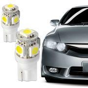 L�mpada 5 Leds Ping�o 12V Branca Lanterna Dianteira Par