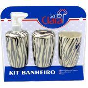 Kit Estampado Zebra Para Banherio Com 03 Pe�as - Santa Clara