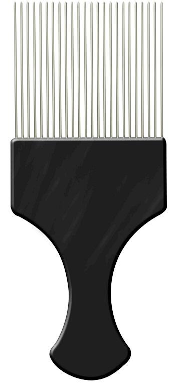Pente Pl�stico Afro Preto Com Dentes Finos de A�o