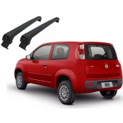 Rack teto bagageiro Fiat Uno 2 portas 2011 em diante Long Life Modelo Aluminio - cor preto