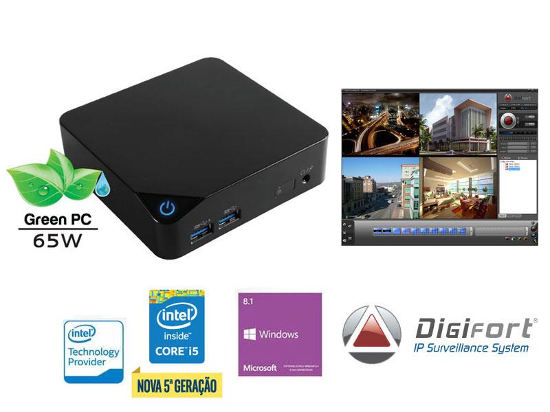 NVR PRO Multimidia Digifort Centrium Security Cubi INTEL Core I5 5200U 4GB 1TERA 32CAM 4K Wifi BT Windows IP ( 7898596163932 )