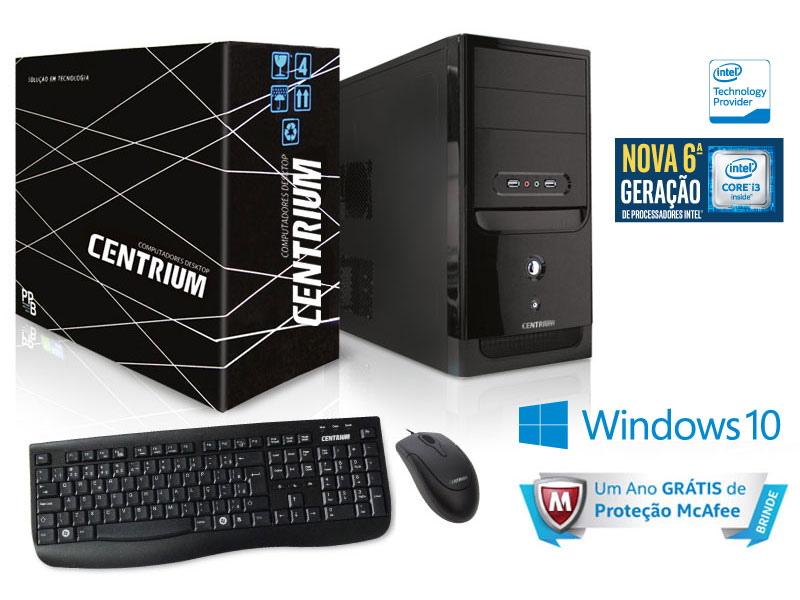 Computador INTEL Windows Centrium Fasttop 6100 INTEL Core I3 - 6100 3.7GHZ 4GB 500GB Windows 10 PRO