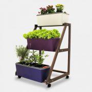Suporte triplo de carrinho para Horta Cultive