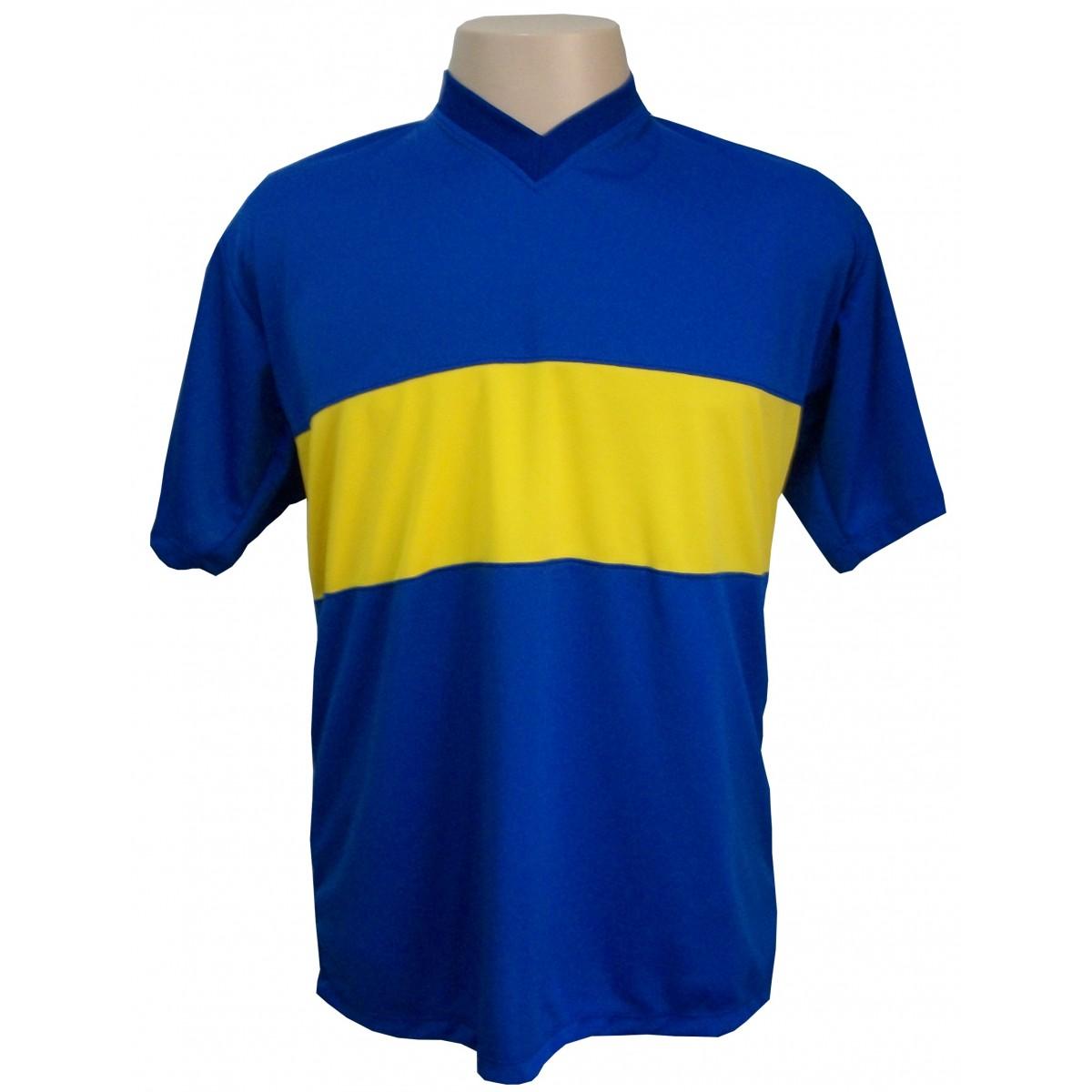Jogo de Camisa modelo Boca Juniors 14 pe�as Royal/Amarelo - Frete Gr�tis Brasil + Brindes