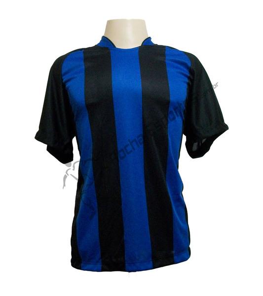 Jogo de Camisa modelo Milan com 18 Preto/Royal - Frete Gr�tis Brasil + Brindes