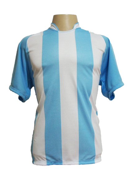 Jogo de Camisa modelo Milan com 12 Celeste/Branco - Frete Gr�tis Brasil + Brindes