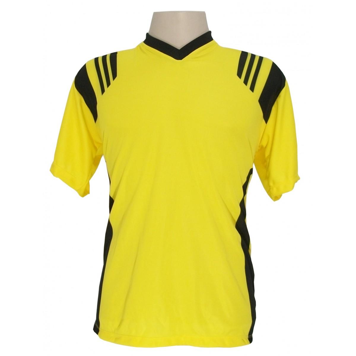 Jogo de Camisa modelo Roma com 18 pe�as Amarelo/Preto - Frete Gr�tis Brasil + Brindes