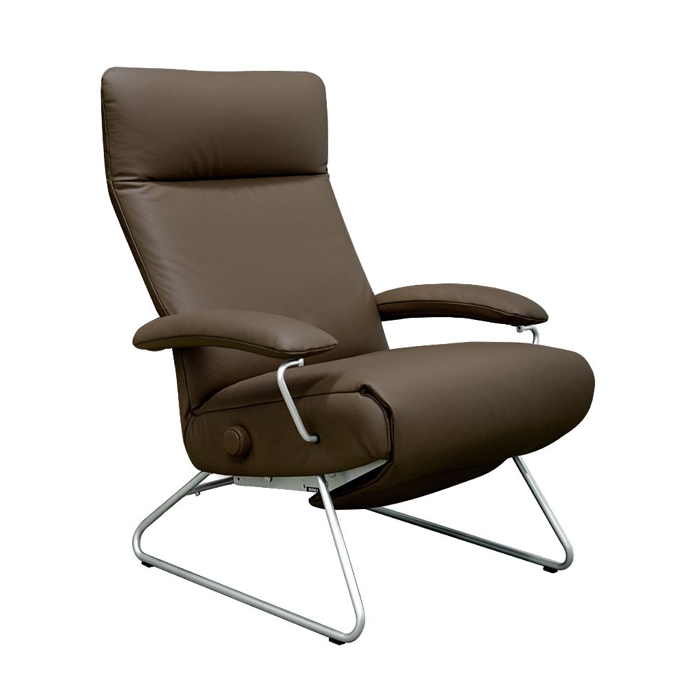 Poltrona reclinável LAFER - Katy em couro legítimo - marrom escuro ( FC - 08 )
