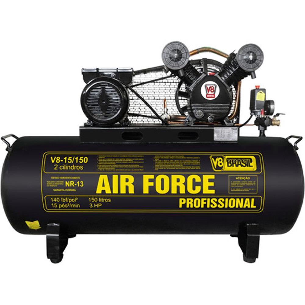 Compressor de Ar 15 pés 150L 140psi Monofásico 220v - AIR FORCE - V8 Brasil