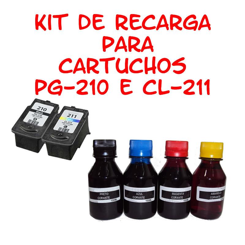 KIT de Recarga para Cartuchos Canon PG210 CL 211 para impressorasMP230 MP240