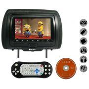 Encosto / Descanso De Cabe�a E-Tech Com Leitor de DVD Universal - Couro Tela LCD 7� - 1 Pe�a
